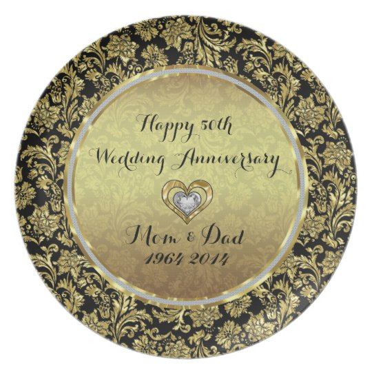 Black And Gold Damasks 50th Wedding Anniversary Plate