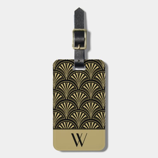 Black and Gold Deco Fan Monogrammed Luggage Tag
