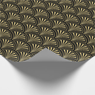 Black and Gold Deco Fans Pattern Wrapping Paper