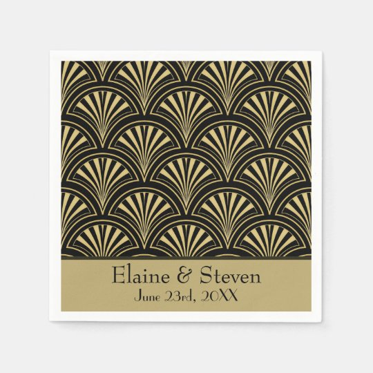 Black and Gold Deco Fans Personalised Paper Napkins