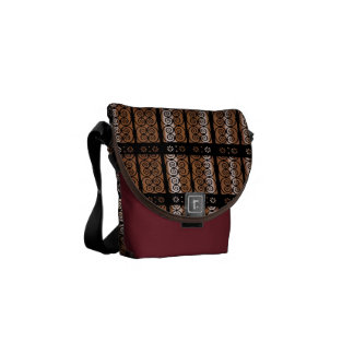 Black And Gold Decorative Pattern Courier Bag
