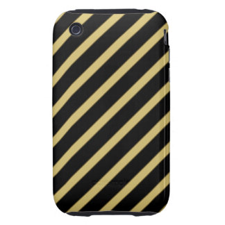 Black and Gold Diagonal Stripes iPhone3 Case