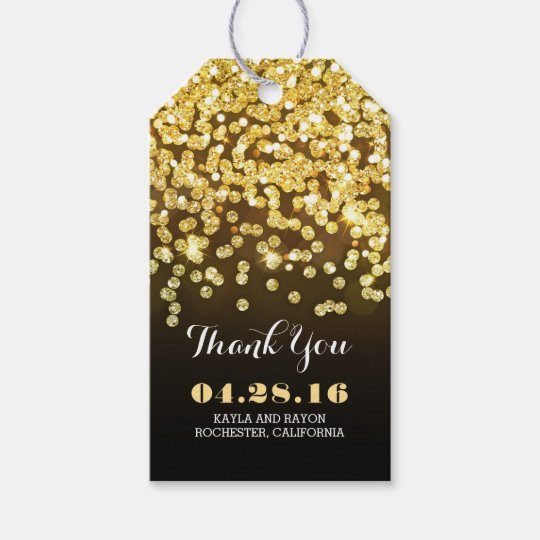 Black and Gold Diamonds Wedding Thank You Gift
