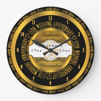 Black and Gold Elegant 15th Wedding Anniversary Black And Gold Elegant 15th Wedding Anniversary Large Clock
