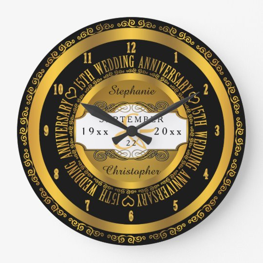 Black and Gold Elegant 15th Wedding Anniversary Large