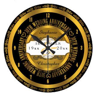 Black and Gold Elegant 30th Wedding Anniversary Clock