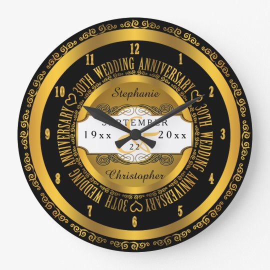 Black and Gold Elegant 30th Wedding Anniversary Large