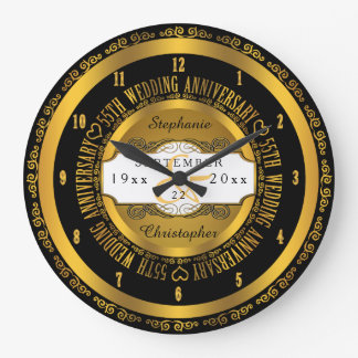 Black and Gold Elegant 55th Wedding Anniversary Clocks
