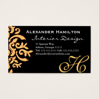 Black and Gold Elegant Baroque Damask for Him Business Card