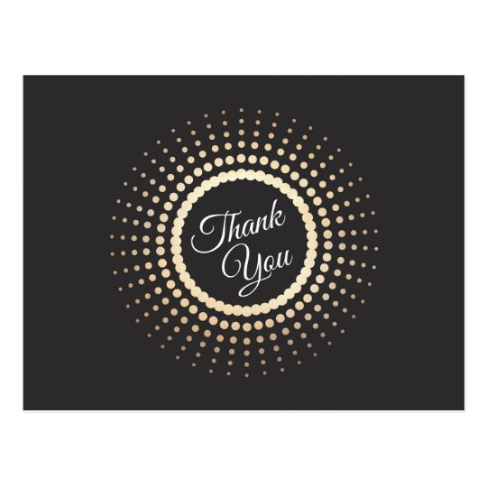 Black and Gold Elegant Thank You Postcard