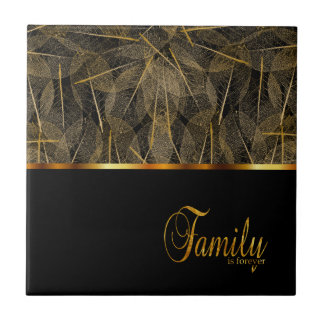 Black and Gold Family is Forever Small Square Tile