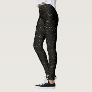 Black and Gold | Faux Foil Dots Dotted Leggings