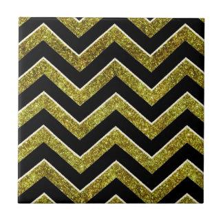 Black and gold faux glitter chevron small square tile
