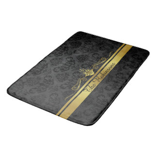 Black and Gold Filigree Bath Mat