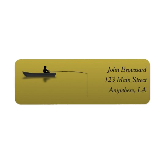 Black and Gold Fishing Address Label