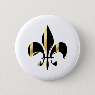 Black and Gold Fleur de Lis 6 Cm Round Badge