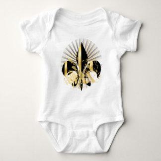 Black and Gold Fleur de Lis Baby Bodysuit