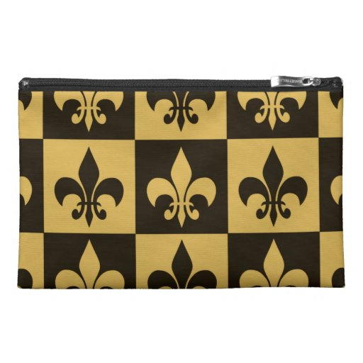 Black and Gold Fleur de lis Travel Accessory Bag