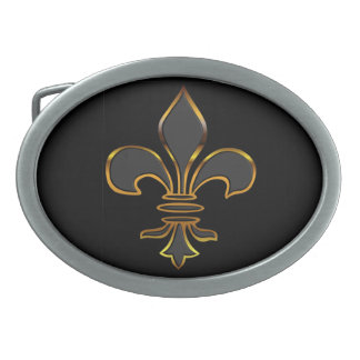 Black and Gold Fleur-de-Lis Belt Buckle