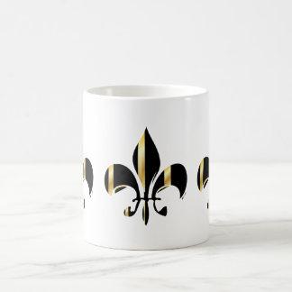 Black and Gold Fleur de Lis Coffee Mug