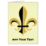 Black and Gold Fleur de lis Greeting Card