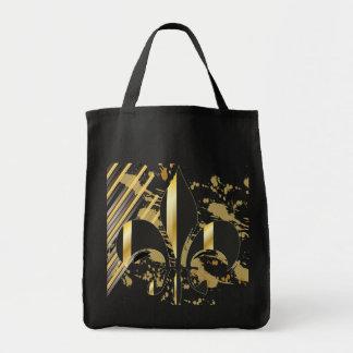 Black and Gold Fleur de Lis Grocery Tote Bag