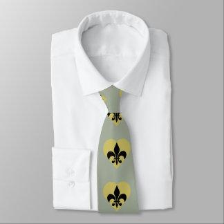 Black and Gold Fleur de Lis Heart Neck Tie