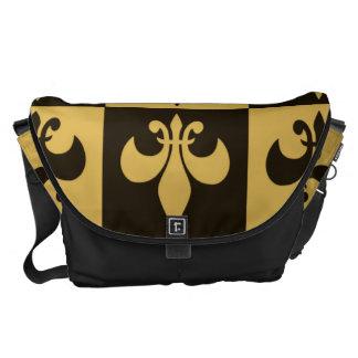 Black and Gold Fleur de lis Messenger Bags