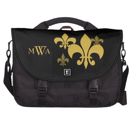 Black and Gold Fleur de Lis Monogrammed Bag For Laptop