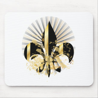 Black and Gold Fleur de Lis Mouse Mat