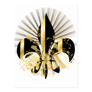 Black and Gold Fleur de Lis Postcard