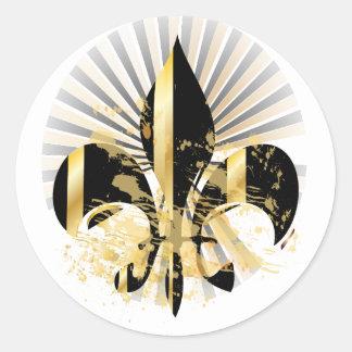 Black and Gold Fleur de Lis Round Sticker