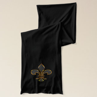 Black and Gold Fleur-de-lis Scarf