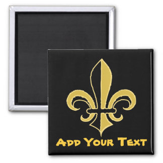 Black and Gold Fleur de lis Square Magnet