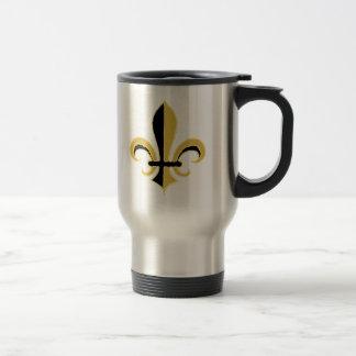 Black and Gold Fleur de lis Stainless Steel Travel Mug