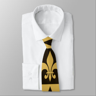 Black and Gold Fleur de lis Tie