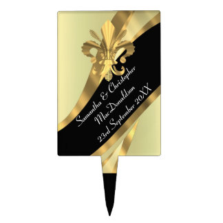 Black and gold fleur de lys cake picks
