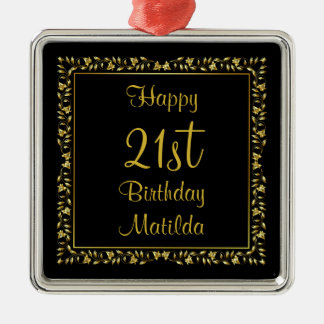 Black and Gold Floral 21st Birthday Christmas Ornament