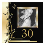 Black and gold floral 30th birthday invitation