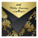 Black and Gold Floral 50th Anniversary Invitation