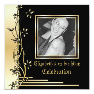 Black and gold floral border birthday invitation