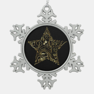 Black And Gold Floral Christmas Star Pewter Snowflake Decoration