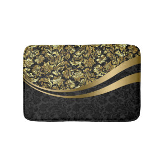 Black And Gold Floral Damasks Pattern Bath Mat