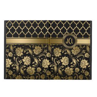 Black And Gold Floral Damasks & Quatrefoil