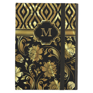 Black And Gold Floral & Geometric Damasks Monogram iPad Air Case