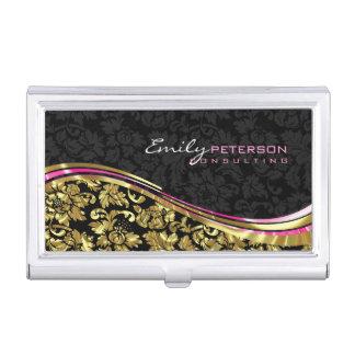 Black And Gold Floral Girly Damasks Business Card Holder