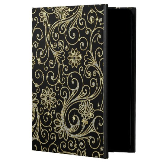 Black And Gold Floral Glitter & Sparkles Powis