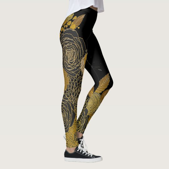 Black and Gold Floral Leggings