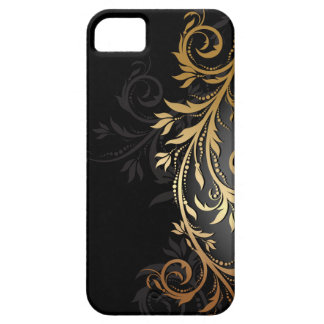 Black and Gold Floral Vine Barely There iPhone 5 Case
