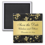 Black and Gold Floral Wedding Favour Magnet